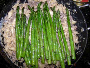 Stroganoff Topped with Asparagus