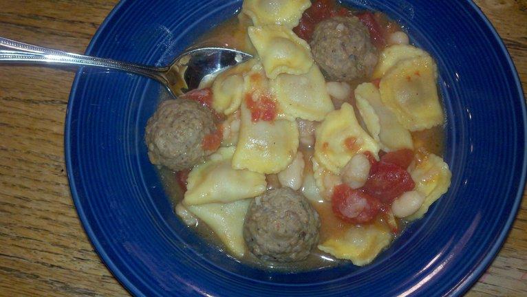 Meatball and Mini Ravioli Soup
