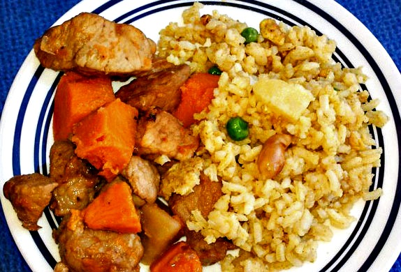 Island Pork and Sweet Potato Toss + Pineapple Fried Rice