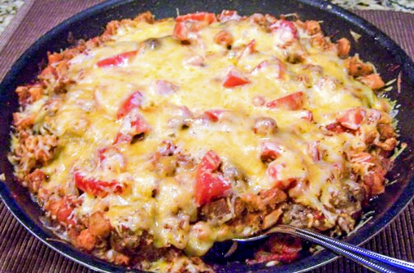 One Skillet Sausage and Stuffing Parmesan
