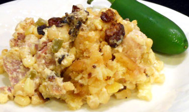 Crock Pot Creamed Corn & Ham Casserole Topped with Bacon & Breadcrumbs