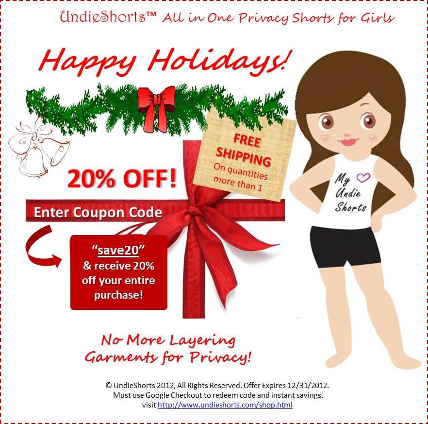 UndieShorts 2012 Holiday Savings of 20% OFF Your Entire Purchase!