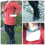 What To Wear: Long Burnt Orange Sweater with Jeggings and Ankle Boots