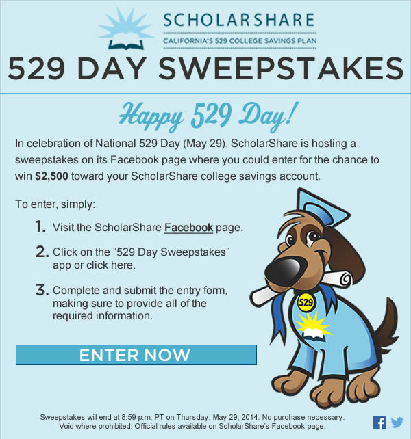 "Free Money for College? Enter to Win ScholarShare ""529 Day"" Sweepstakes"