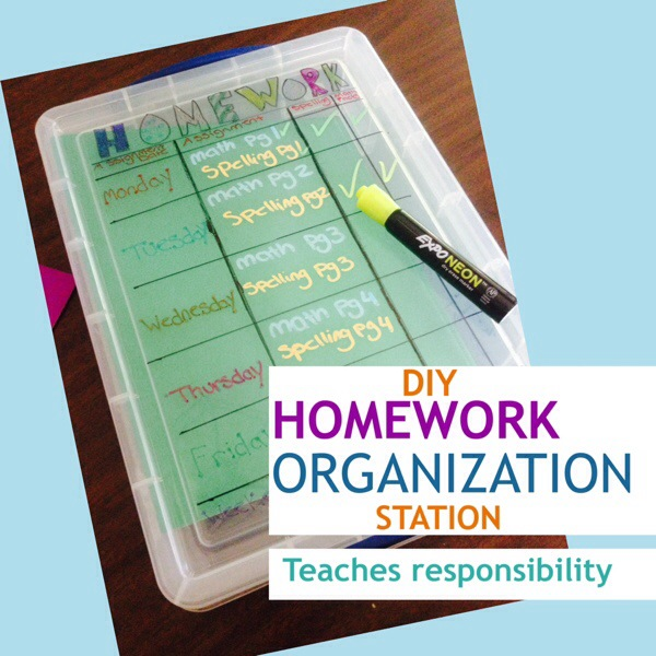 DIY Homework Organization Station