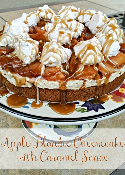 Apple Blondie Cheesecake with Caramel Sauce