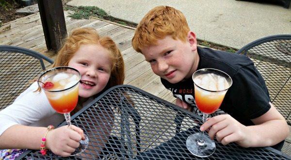 Kids Drinking Malibu Mango Mocktails