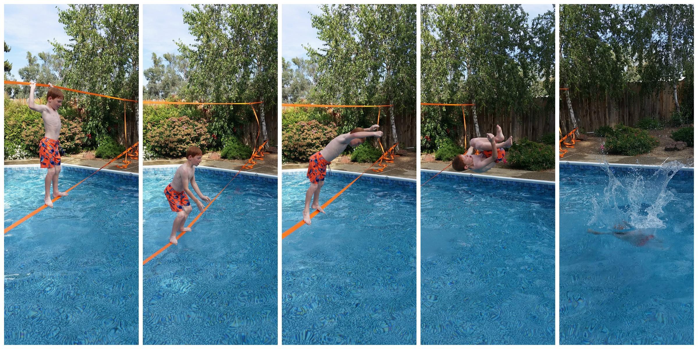 slackline fun in grandma u0027s pool clever housewife
