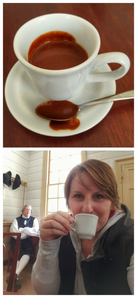 Drinking Chocolate at R Charlton Coffeehouse in Colonial Williamsburg