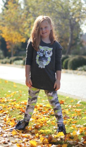Neon Camo Leggings with matching Owl Tee