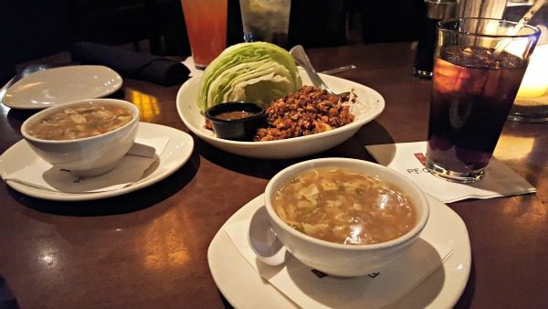 P.F. Chang's Egg Drop Soup and Lettuce Wraps