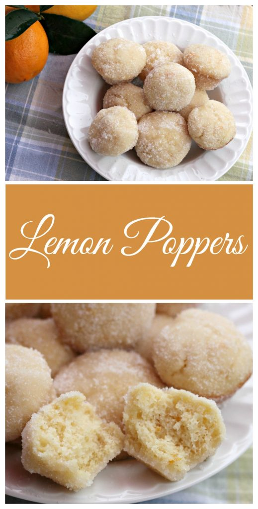 Lemon Poppers made with homemade lemon curd, and taste like a super moist donut hole dipped in lemon and sugar. Amazing dessert recipe!