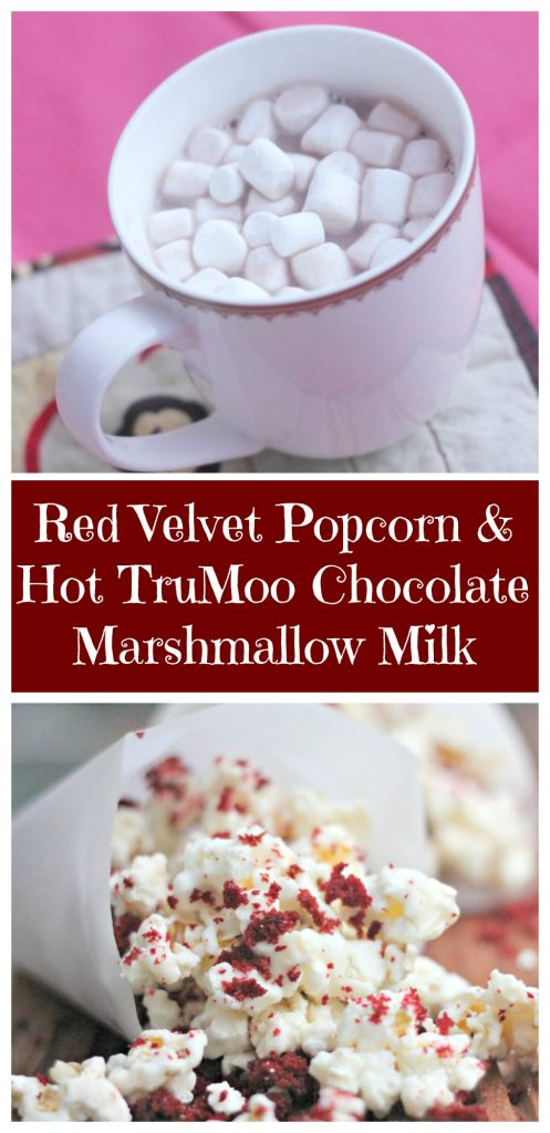 Red Velvet Popcorn & Hot TruMoo Chocolate Marshmallow Milk for family movie night treats