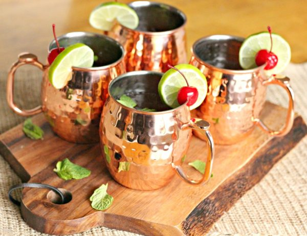 Spring Moscow Mule Mocktails served in the traditional copper cups!