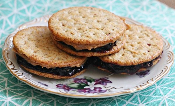 PB&J Cracker Sandwiches on Breton Crackers