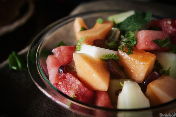 Fresh Fruit Salad with Honey Lime Syrup