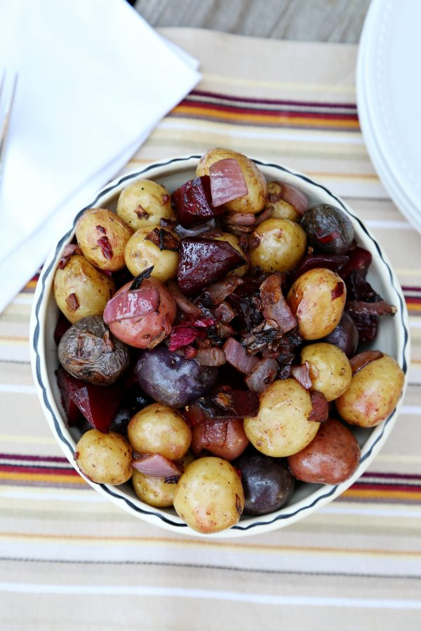 Roasted Potatoes and Beets, serve it hot or serve it cold