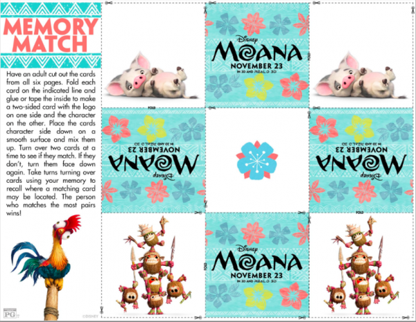 Free printable Moana Memory Match Game