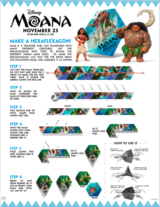 Learn how to make a Hexaflexagon from Moana with free printable
