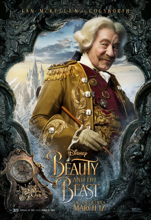 Ian McKellen as Cogsworth in Beauty and the Beast