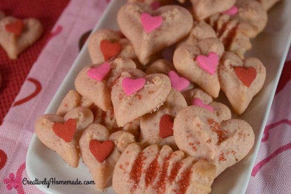 Strawberry Valentine Spritz Cookies