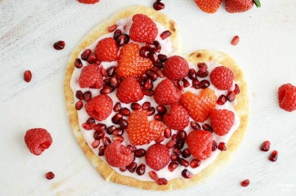 Fruit and Yogurt Flatbread Pizza Heart from Finding Zest