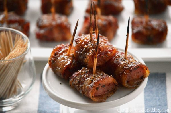 Bacon Wrapped Kielbasa Bites from What the Fork
