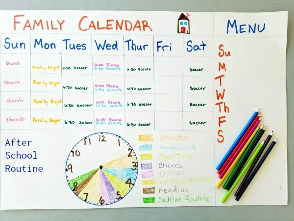 Back To School Family Calendar And After School Routine