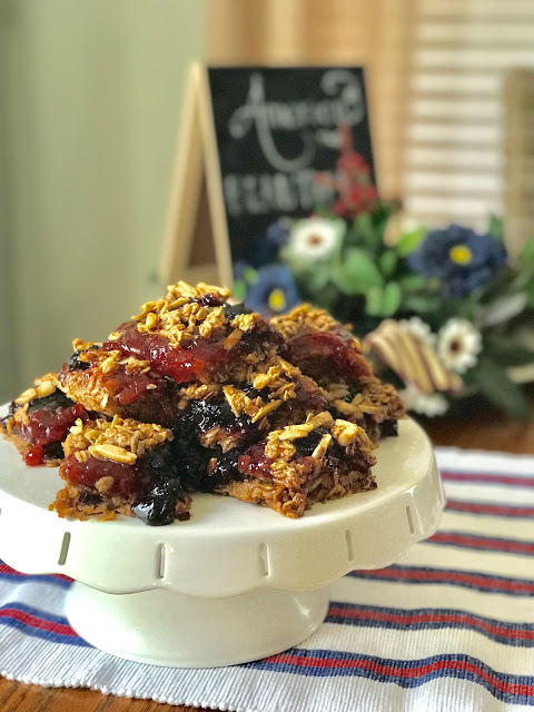 Red and Blue Oatmeal Squares from