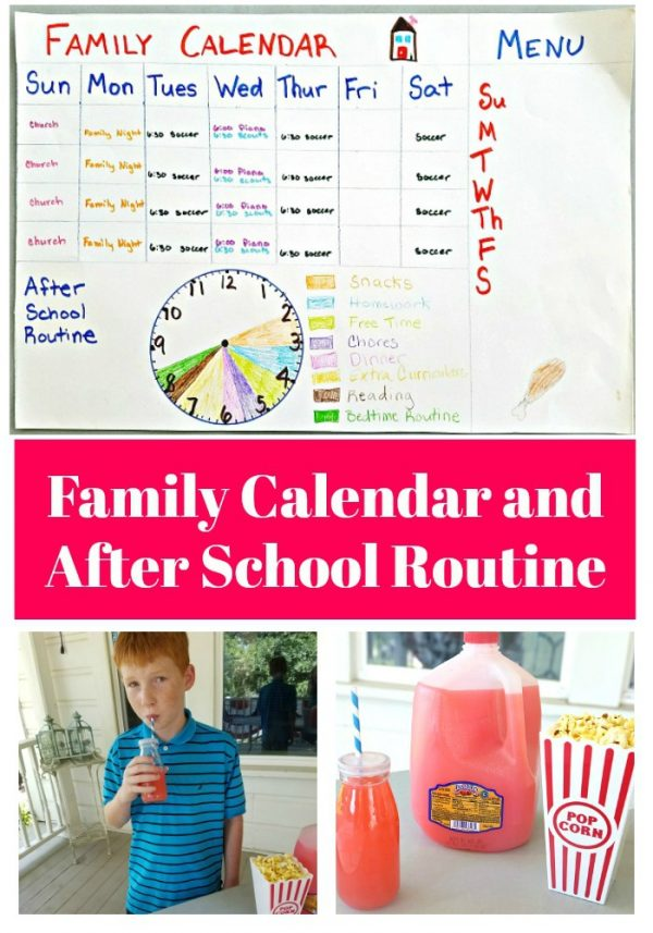 Back-to-School Family Calendar and after school routine