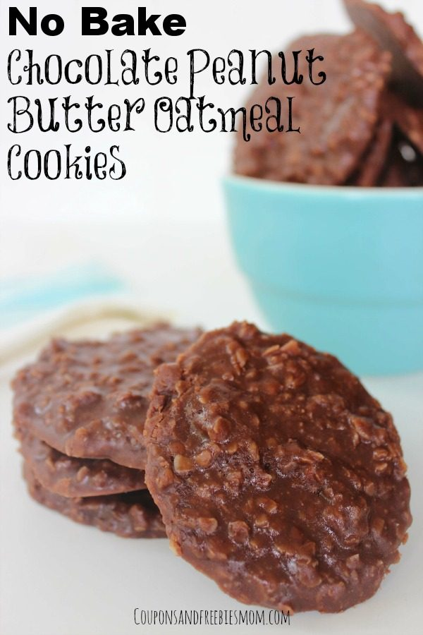 No Bake Chocolate Peanut Butter Oatmeal Cookies from Coupons and Freebies Mom