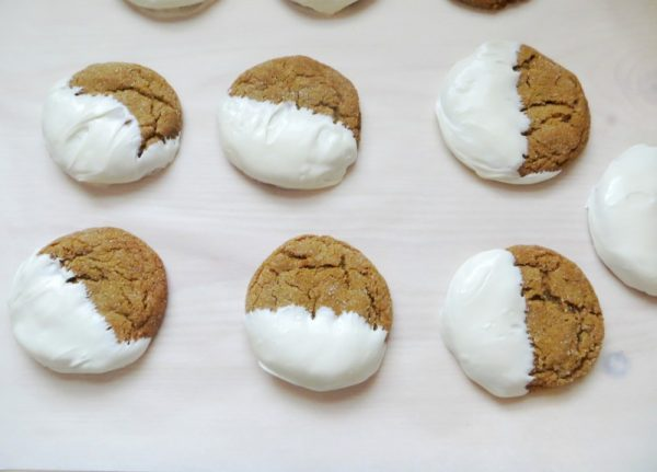White Chocolate Dipped Ginger Snaps from Teaspoon of Goodness