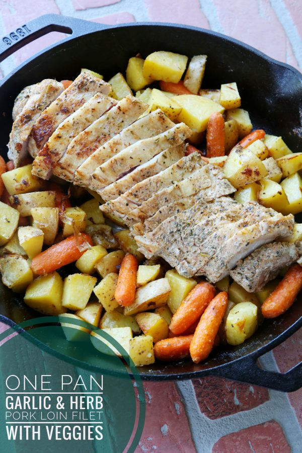One Pan Garlic & Herb Pork Tenderloin with Veggies