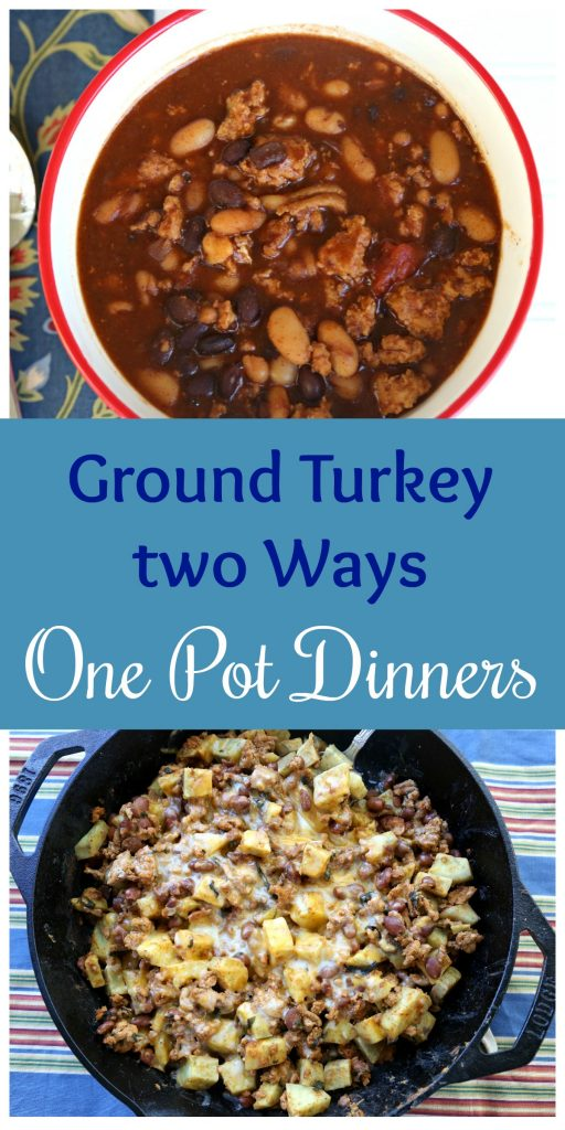 Ground Turkey two ways: One Pot Dinners with Sweet Potato Skillet and Instant Pot Turkey Chili