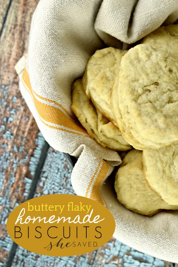 Homemade Buttery Flaky Biscuits from She Saved