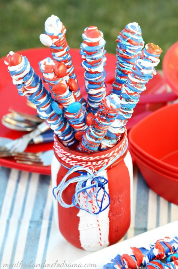 Patriotic Candy Coated Pretzel Sticks from Meatloaf and Melodrama