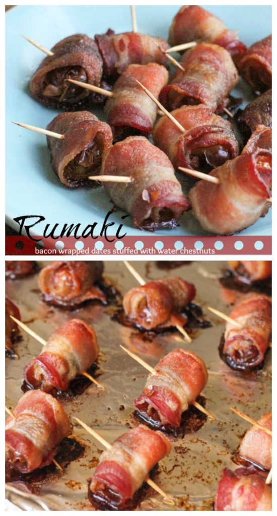 Rumaki Bacon Wrapped Dates stuffed with water chestnuts - best appetizer ever!