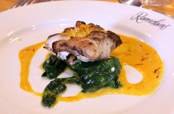 Seabass with Spinach and Saffron Vanilla Sauce
