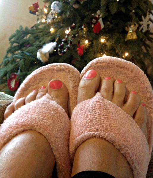 slippers by the tree