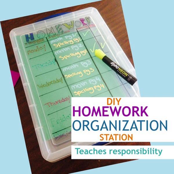 DIY Homework Organization Station