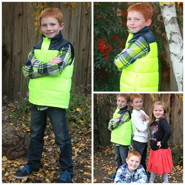 Boys Plaid shirt and puffy vest
