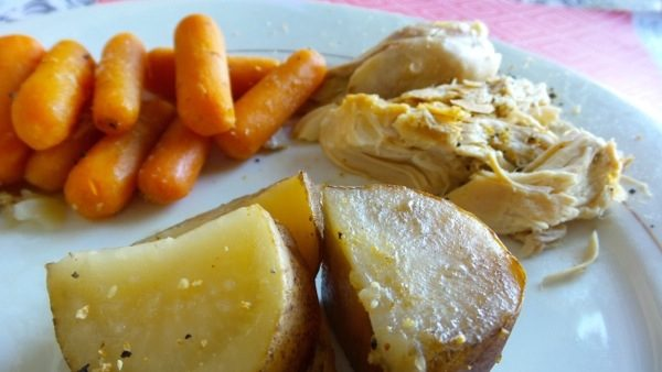 Slow Cooker Lemon Chicken with Sweet Baby Carrots and Seasoned Potatoes