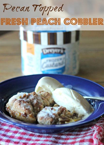 Pecan Topped Fresh Peach Cobbler with Frozen Custard