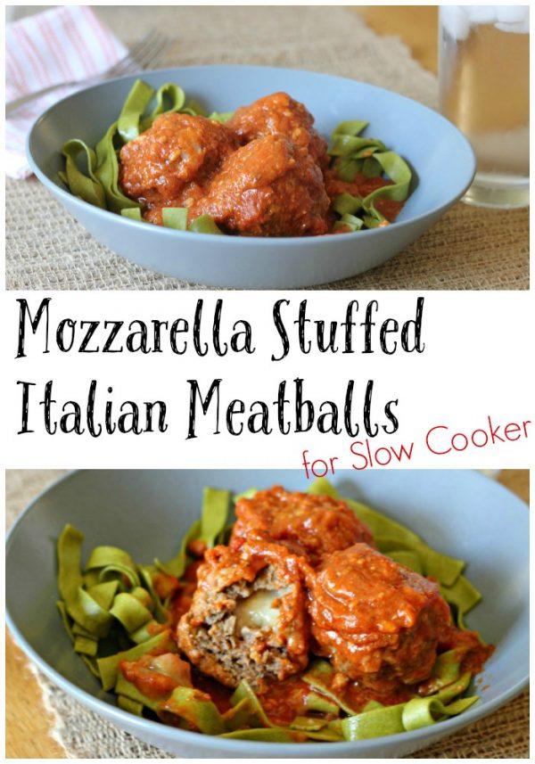 Mozzarella Stuffed Italian Meatballs for Slow Cooker