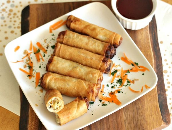Thai Spring Rolls with a delicious dipping sauce! These are easier than one might think, to make. Plus, talk about one tasty appetizer for game day!