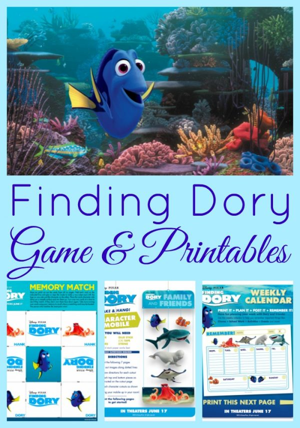 Finding Dory Memory Game, Craft and Printable Calendar