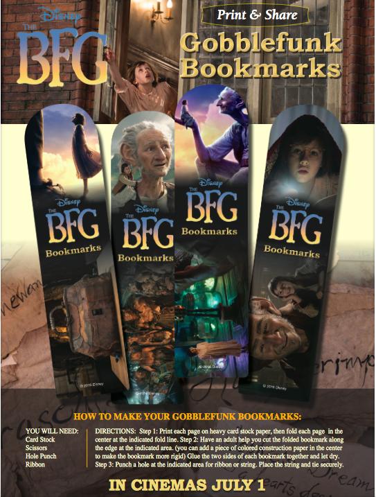 Printable The BFG Gobblefunk Bookmarks
