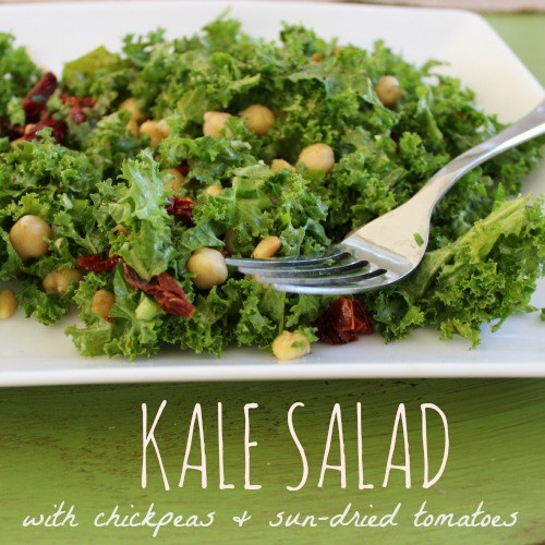 Kale Salad with Chicpeas and Sun-dried Tomatoes