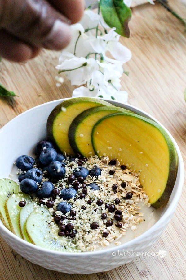Kiwi Blueberry Mango Non Dairy Yogurt Bowl from A Worthey Read