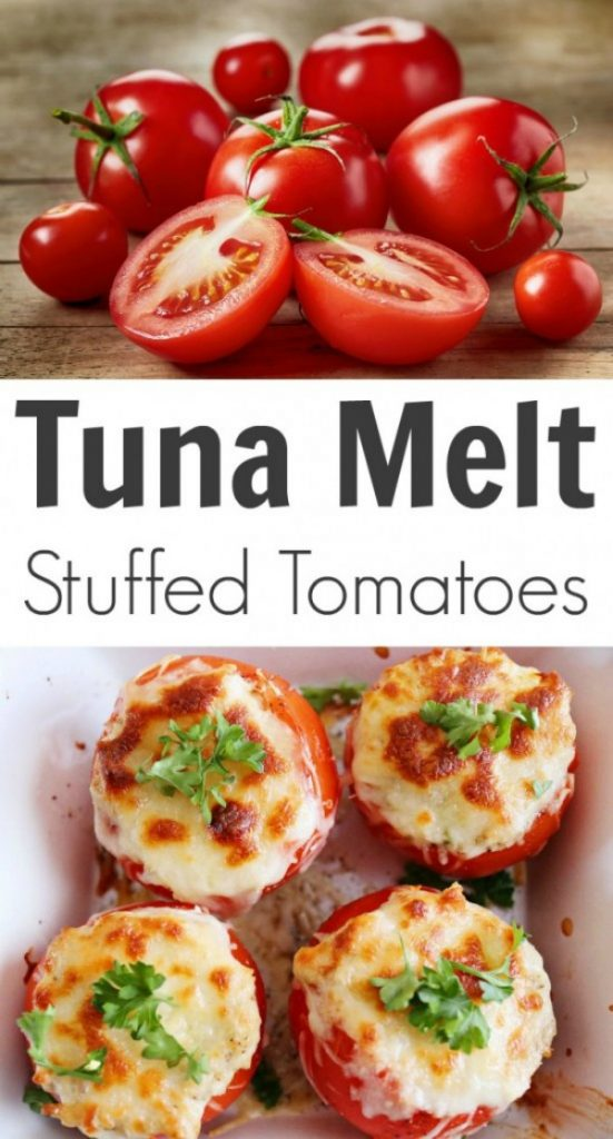 Tuna Melt Stuffed Tomatoes from TOTS Family